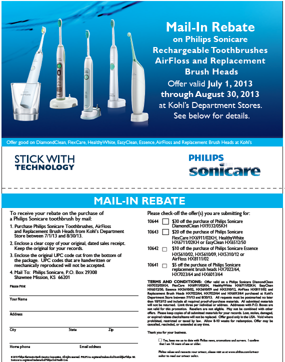 Rebate for the Sonicare electric toothbrush
